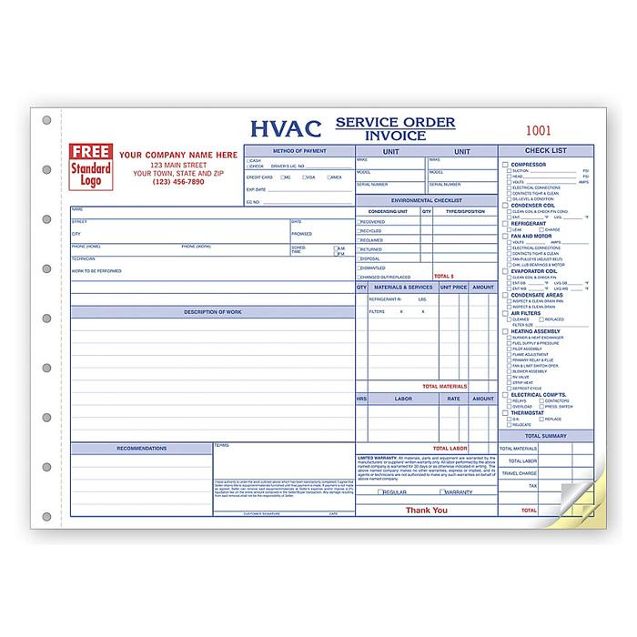 [Image: HVAC Service Orders - Customized with Logo, Checklist, Horizontal, 3-Part Form, Carbonless Copies, Manila Tag]