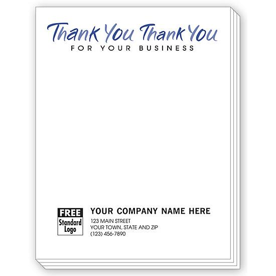[Image: Personalized Notepad with Thank You For Your Business Imprint]