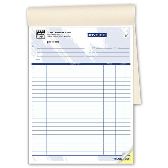 "[Image: Personalized Invoice Books - 2-Part Carbonless Copies, 50 Sets Per Book, 8 1/2 x 11"", Preprinted]"