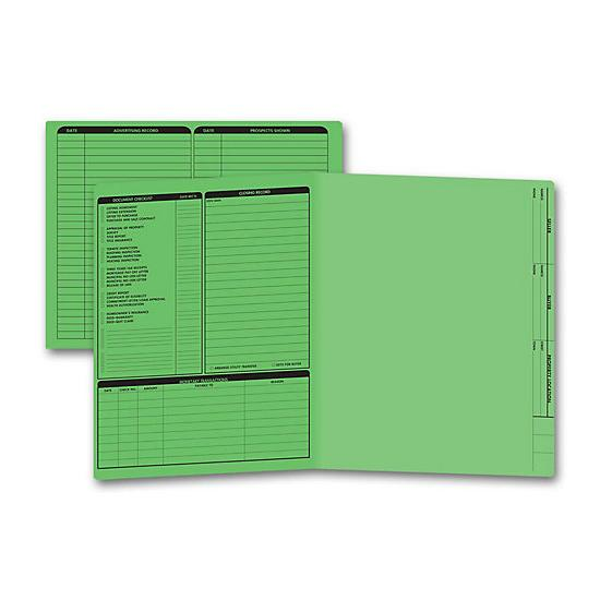 [Image: Real Estate Folder, Left Panel List, Letter Size, Green]