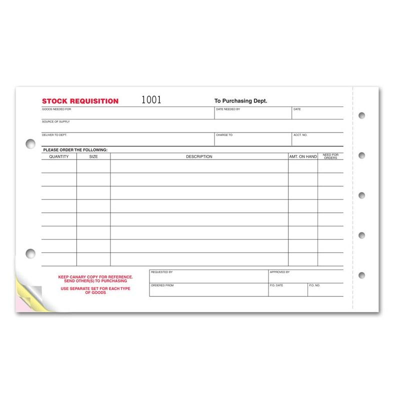 [Image: Stock Requisition Carbonless Form]