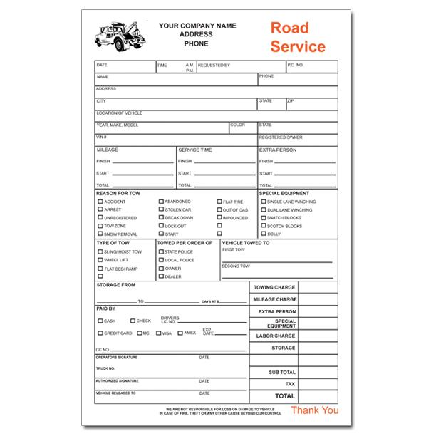 towing service receipt