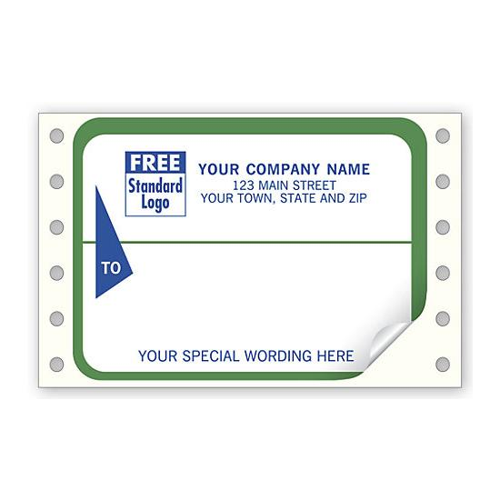 [Image: Continuous Return Address Shipping Label, White With Green Border]