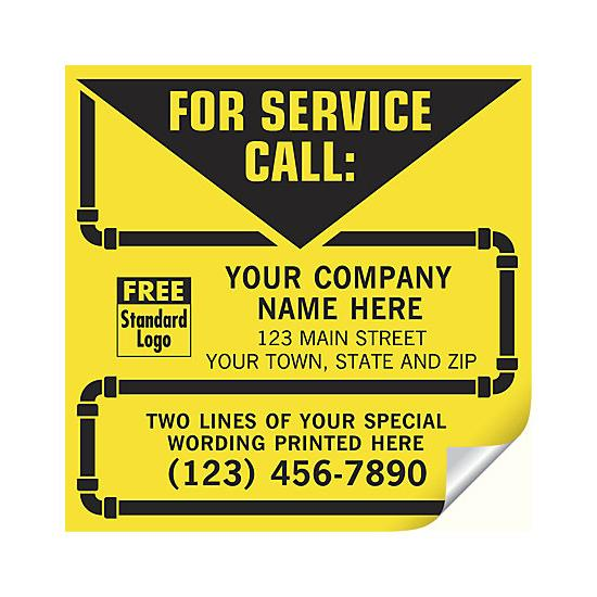 [Image: Contractor Service Labels, With Pipe Border, Vinyl]