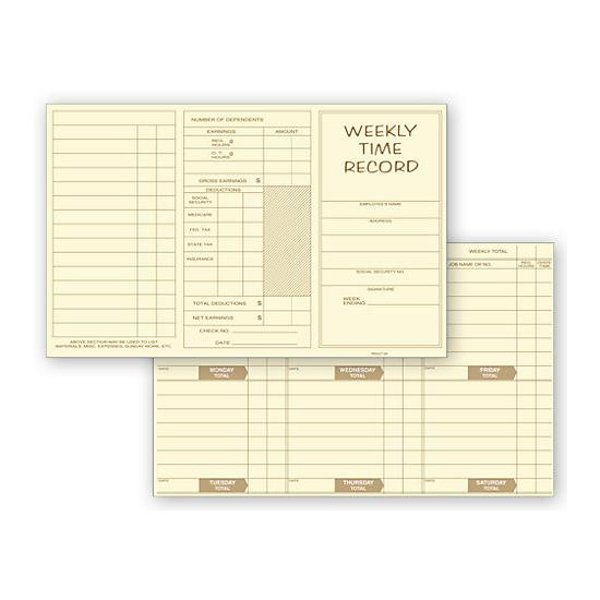 [Image: Pocket Size Weekly Time Card]