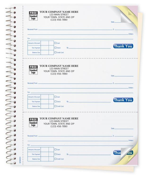 cash receipt book customized custom carbonless printing