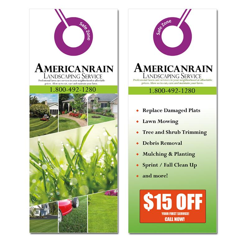 Great Landscaping Door Hangers 2 Sided