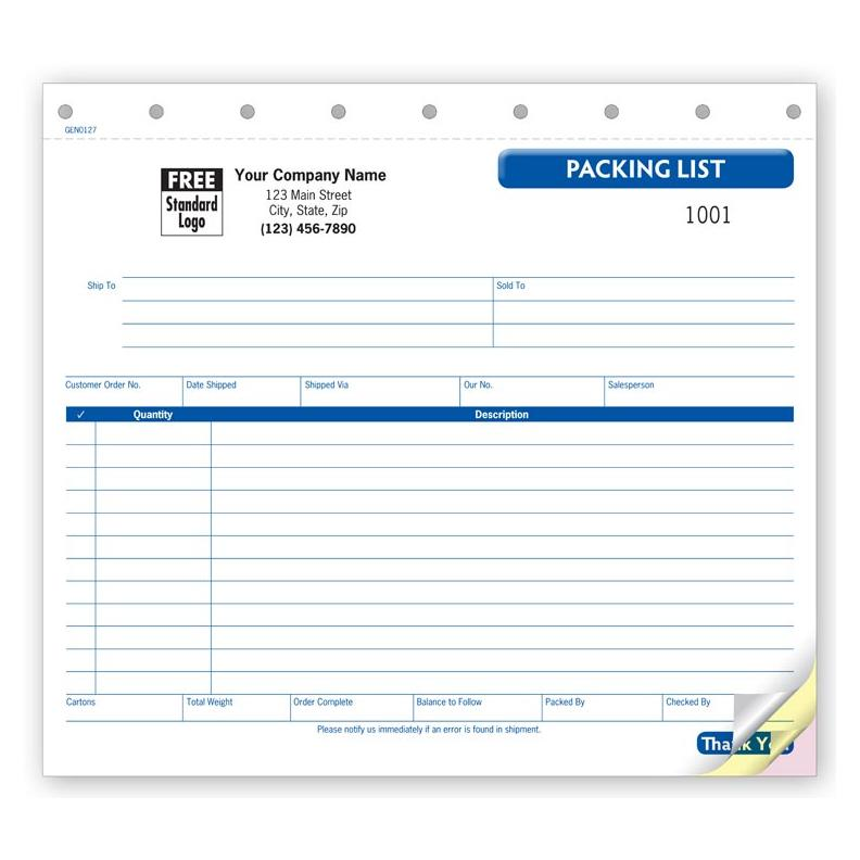[Image: Invoice packing list - Small Carbonless]