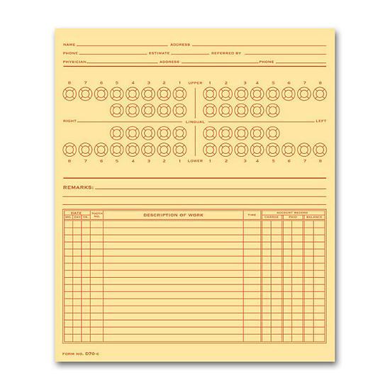 [Image: Dental Exam Record, Numbered Teeth System B, Folder Style]