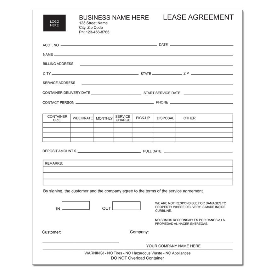 Equipment Lease Form Company Equipment Rental Agreement Equipment