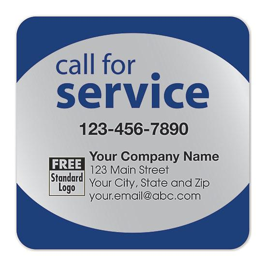 [Image: Call For Service Label On Silver Poly Top & Bottom Navy Trim]
