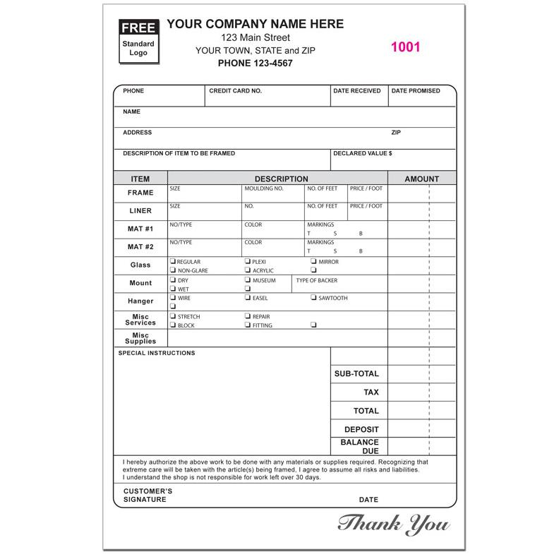 Photography Invoice Form Custom Printing Designsnprint