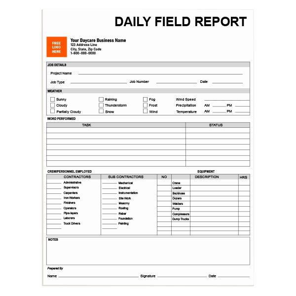 [Image: Construction Daily Field Report Form]