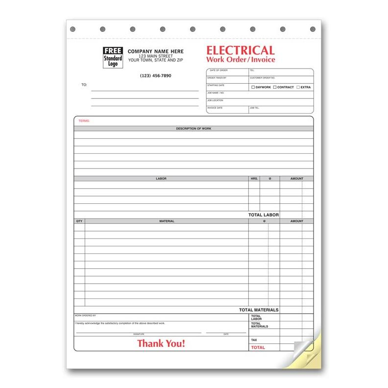 Electrical Work Order Invoice Windy