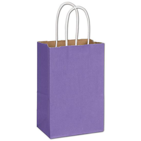 "[Image: Violet Shopping Paper Bag With Handles, 5 1/4 X 3 1/2 X 8 1/4"", Retail Bags]"