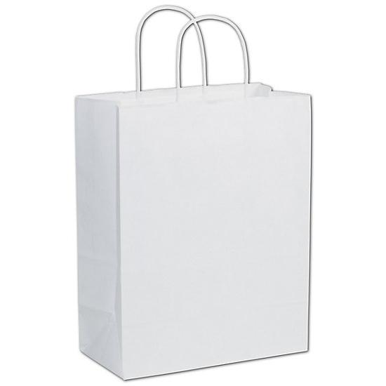 "[Image: White Paper Shopping Bag With Handles & Square Bottom, 10 X 5 X 13"", Retail Bags]"