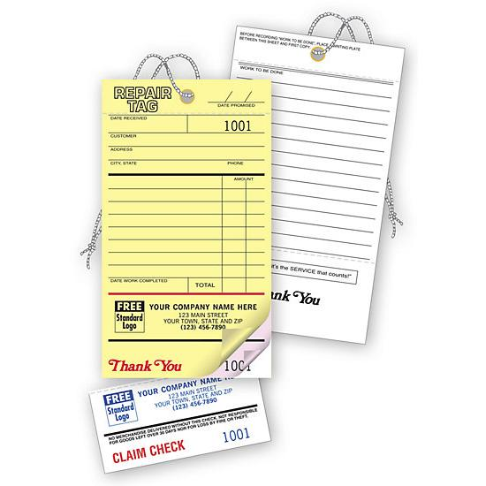 [Image: Repair Tags, Invoice With Detachable Claim Check]