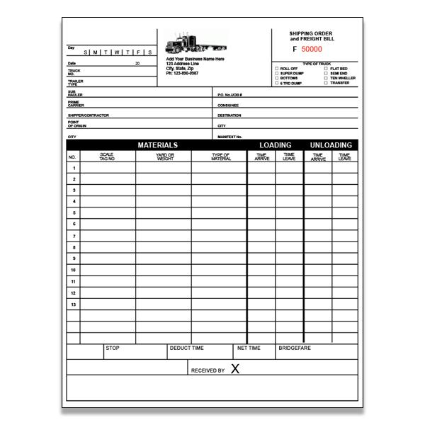 [Image: Trucking Invoice - Shipping Order  Freight Bill]