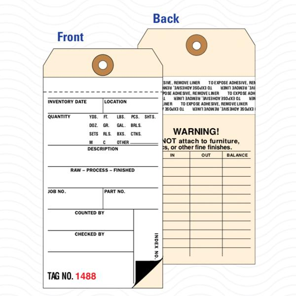 [Image: 2-Part Inventory Tags with Carbon & Removable Self-Adhesive Transfer Tape]