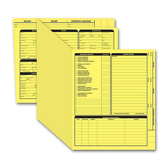 [Image: Real Estate Folder, Right Panel List, Letter Size, Yellow]
