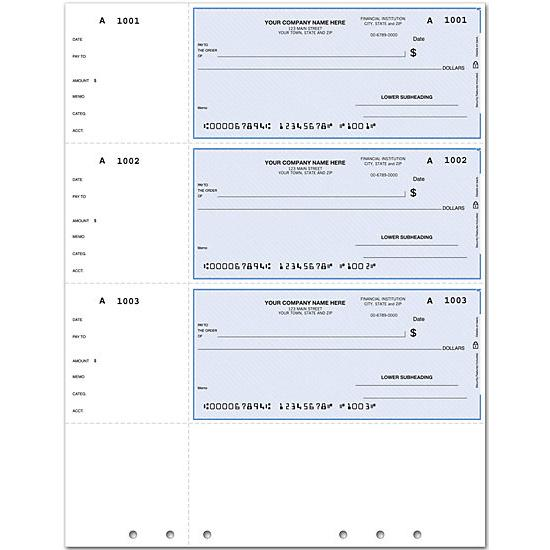 [Image: QuickBooks Laser Wallet Check, Lined, Hole-Punched DLW010]