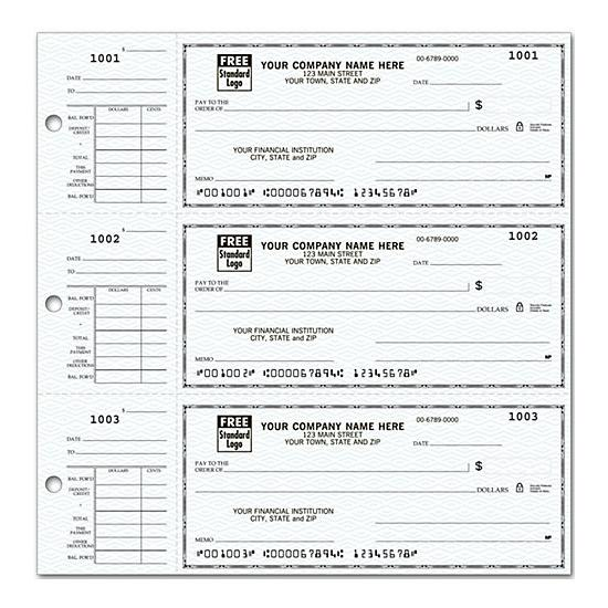 [Image: 3-On-A-Page Compact Size Checks With Side-Tear Voucher 56300N]