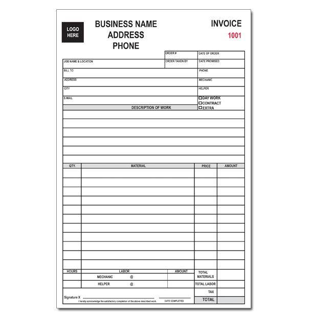 custom business forms  invoices  receipts