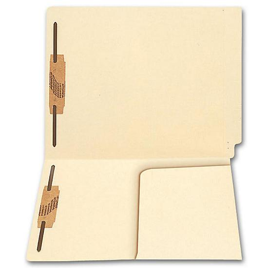 [Image: End Tab Half Pocket Manila Folder, 11 Pt, Two Fastener]