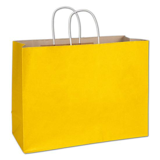 "[Image: Yellow Shopping Bag - Sunshine Radiant Shoppers, 16 X 6 X 12 1/2"", Paper Grocery Bag]"