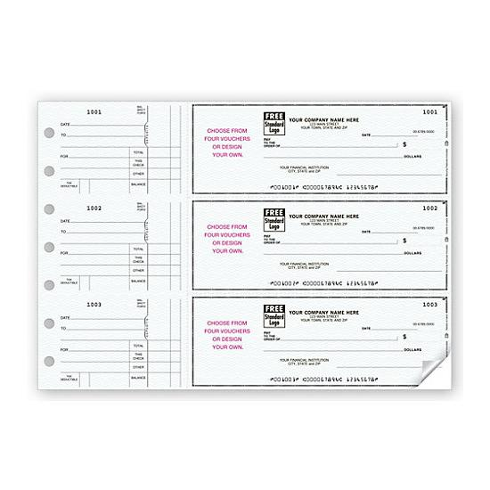 [Image: 3-On-A-Page Business Size Checks, With Choice Of Voucher 53225N]