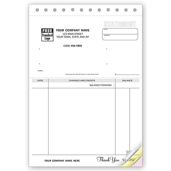 [Image: Account Statement - Unlined Carbonless Form]