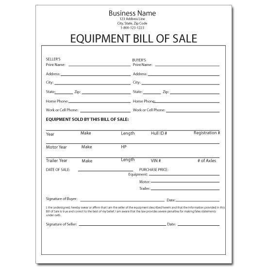 [Image: Equipment Sales Receipt]