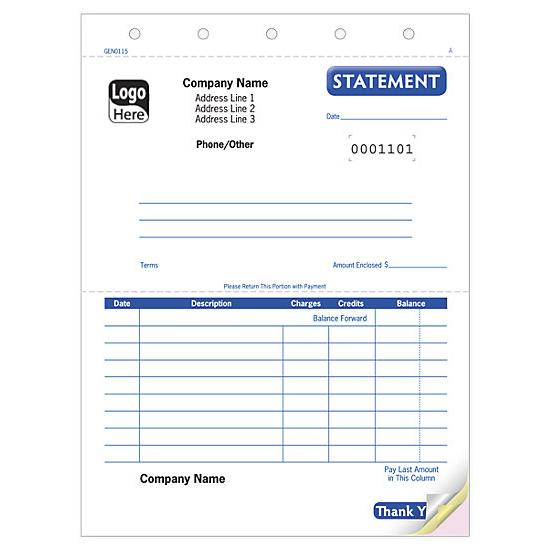 [Image: Small Account Statement Form - Carbonless Snap Sets]