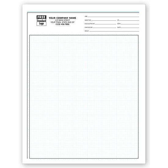 "[Image: Graph Papers, Pro-Sketch, 1/8"", Padded 8 1/2 x 11"", Custom Printed]"