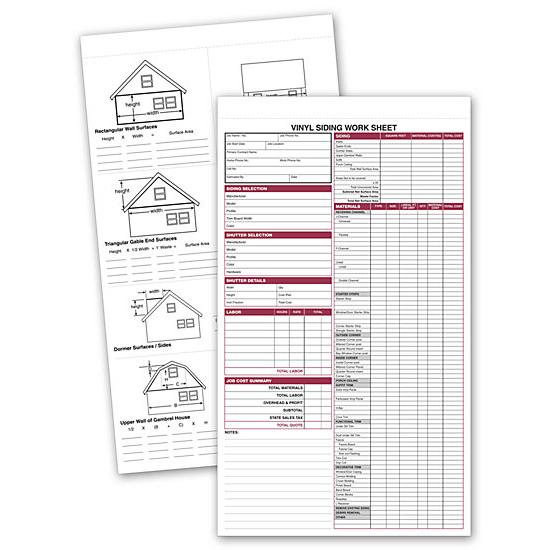 [Image: Vinyl Siding Work Sheet Form]