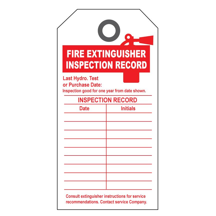 Inspection form book covers for Fire extinguisher inspection tag template