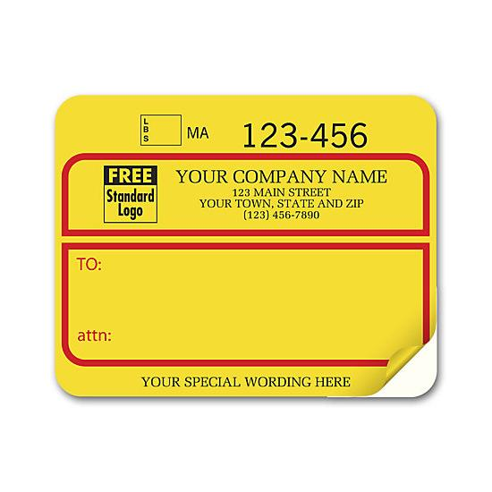 [Image: Jumbo Shipping Labels with UPS number, Padded, Yellow-Red]