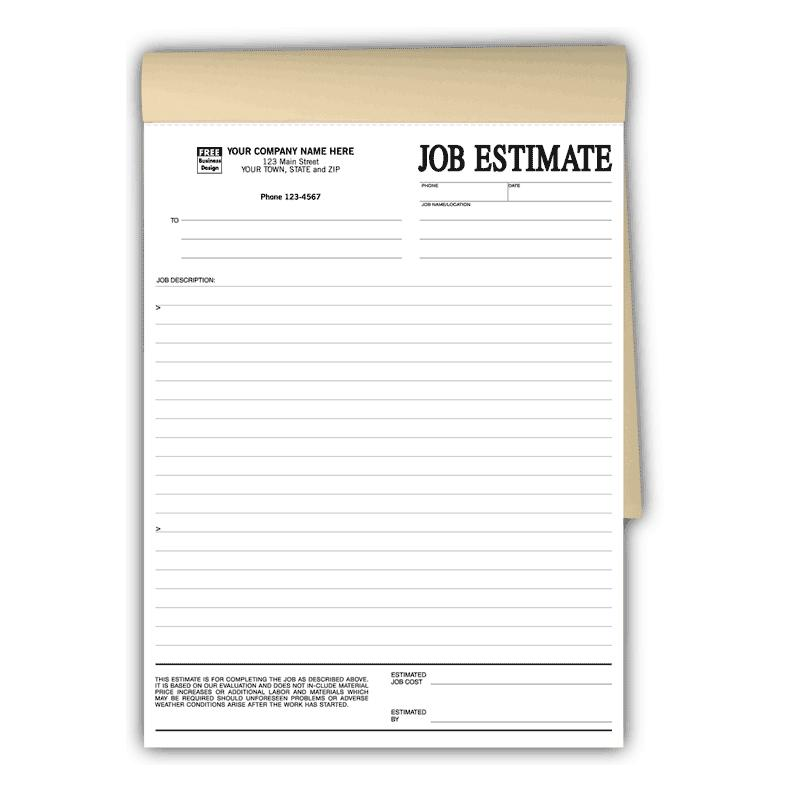 [Image: Job Estimates Book Format]