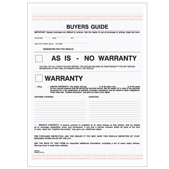 [Image: Car Buyer's Guide Warranty - 2 Parts Carbonless Form]