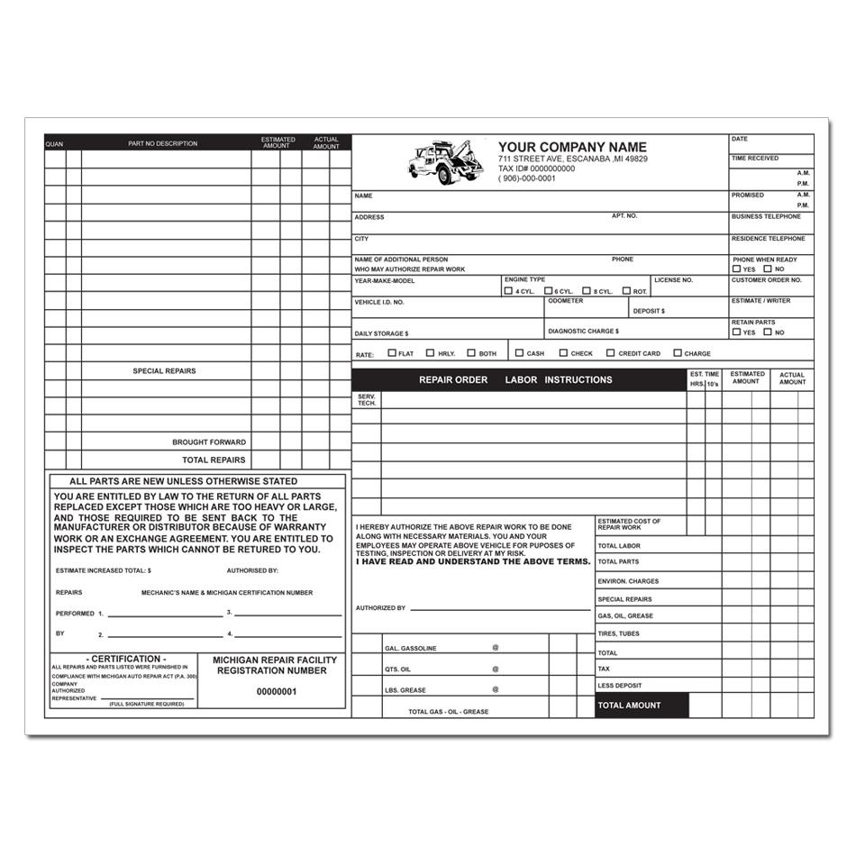 Michigan Auto Repair Invoice  Product Invoice