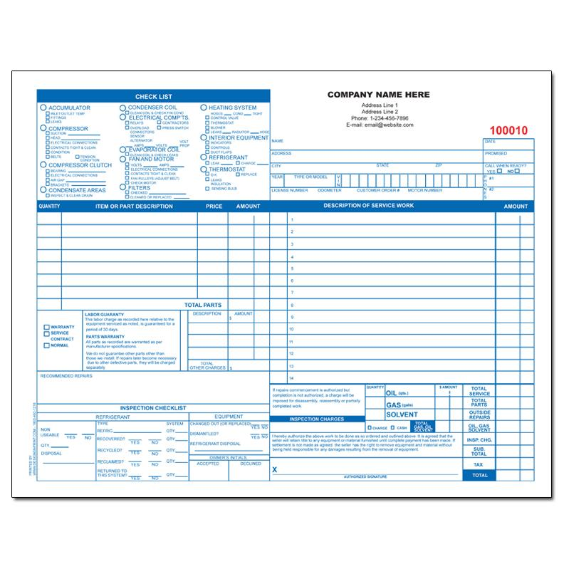 [Image: AUTO HEATING & AIR INVOICE FORM]