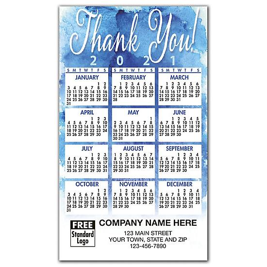 [Image: 2021 Blue Thank You Magnet Calendar, Printed & Personalized]