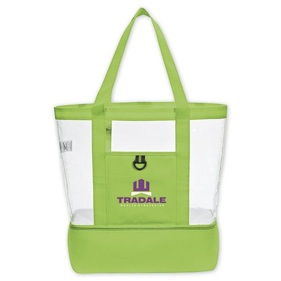 [Image: Clear, Cabana Tote w/Insulated Bottom - Personalized]