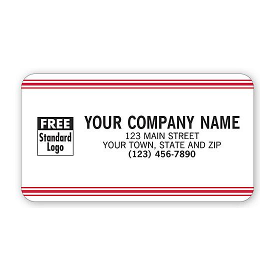 [Image: Advertising Labels, White With Red Stripe]