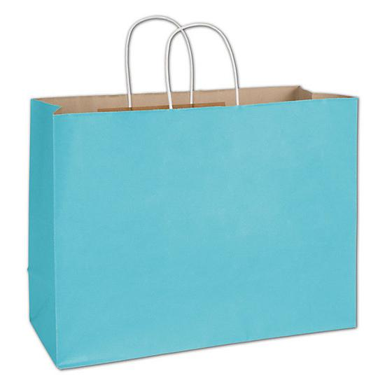 "[Image: Shopping Bag - Arctic Blue Radiant Shoppers, 16 X 6 X 12 1/2"", Paper Grocery Bag]"