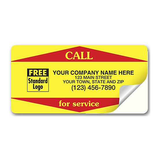 [Image: Yellow Call For Service Weather-Resistant Labels]