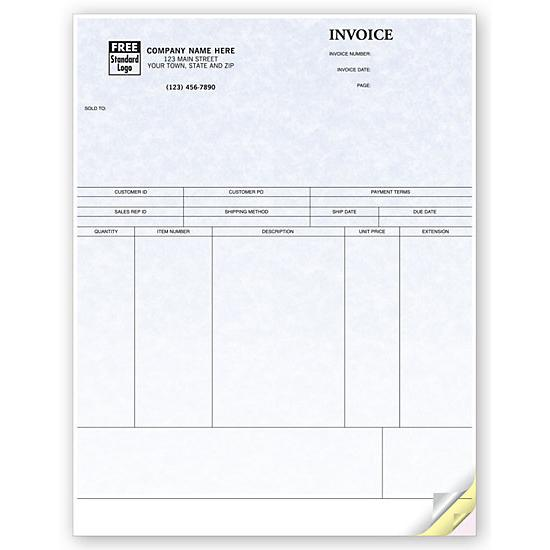 [Image: Product Invoice Form, Laser and Inkjet Compatible, Parchment - Custom Printed]