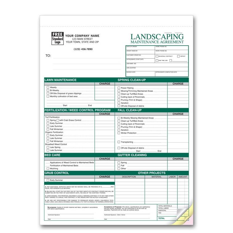 Landscaping Maintenance Agreements  Lawn Care Invoices