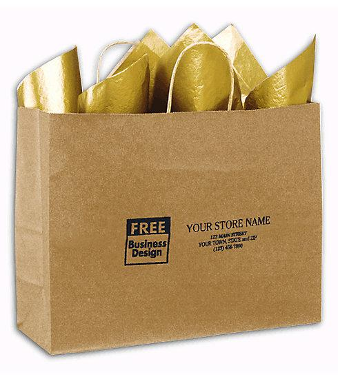 "[Image: Brown Paper Shopping Bags With Handles. Kraft Paper Shoppers Vogue, 16 X 6 X 12 1/2""]"