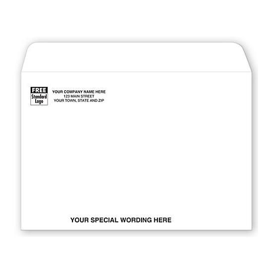 [Image: White Booklet Envelope with Return Address Printed, 9 X 6]